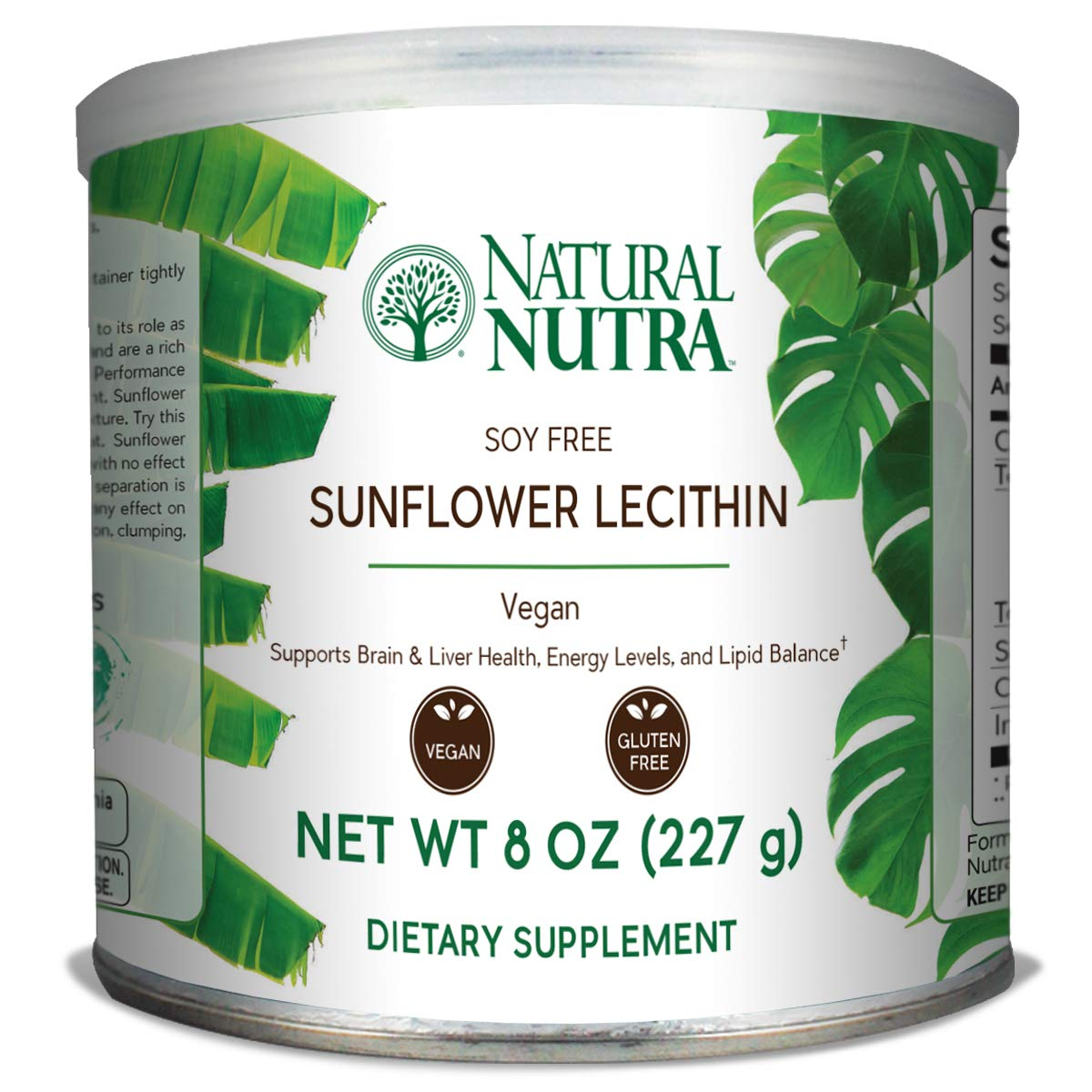 Natural Nutra Sunflower Lecithin Powder, Non GMO, Soy Free with Inositol, Omega 3-6 and Choline, 8 oz Vegan Supplement