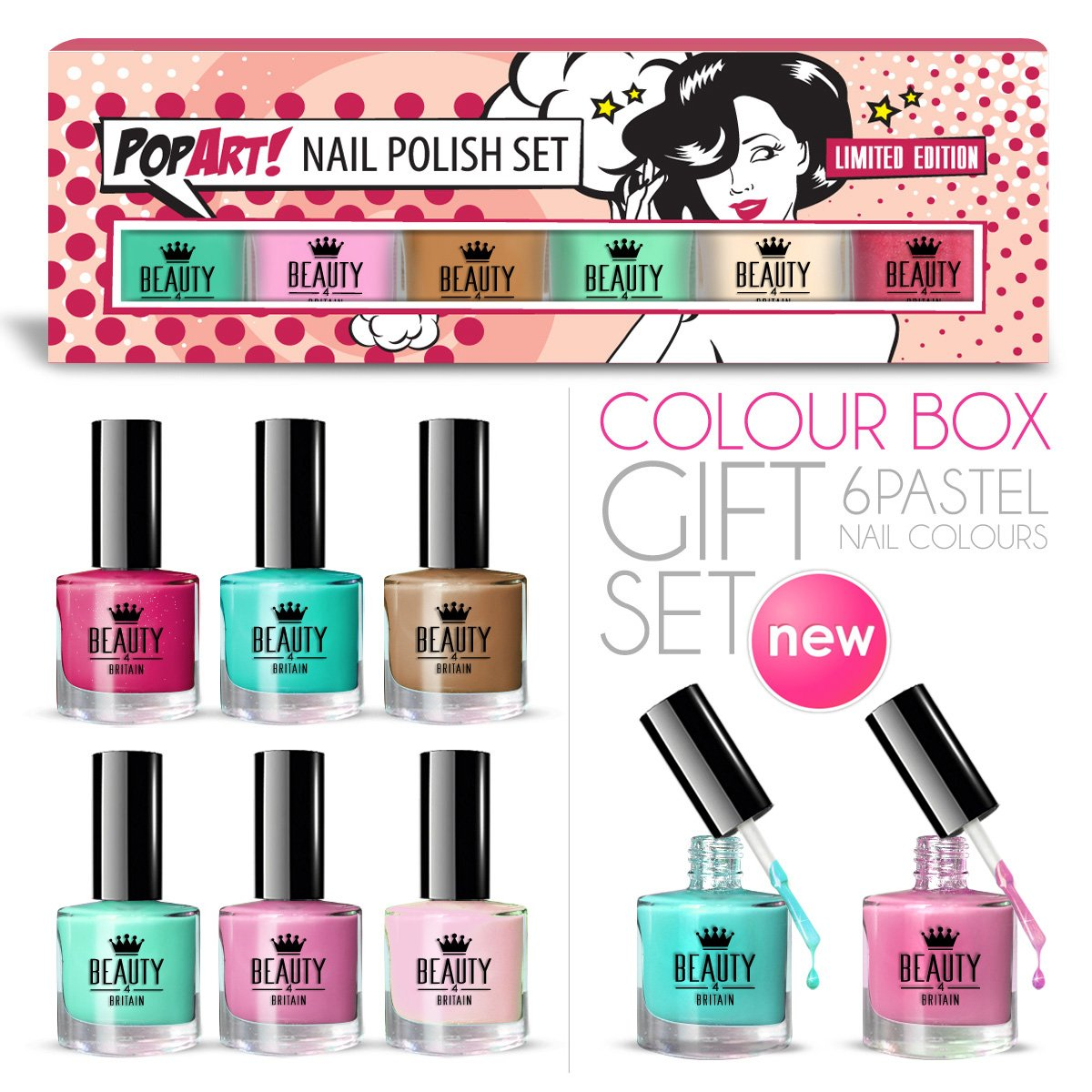 6 x Luxury Nail Polish 6 Different Pastel PopArt Colours Gift Box High Quality B4B