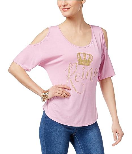 f55c26984d1a1a Thalia Sodi Womens Reina Mommy   Me Cold Shoulder Graphic T-Shirt Pink XS