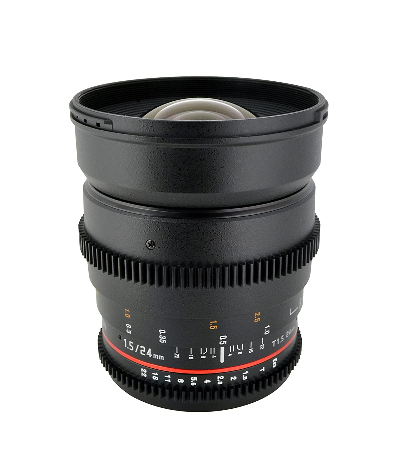 Rokinon Cine CV24M-N 24mm T1.5 Cine Wide Angle Lens for Nikon with De-Clicked Aperture and Follow Focus Compatibility 24-24mm Wide-Angle Lens