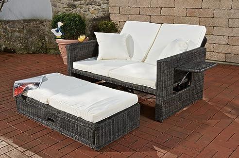 Amazon.de: CLP Poly-Rattan 2er Lounge-Sofa ANCONA, ALU-Gestell ...
