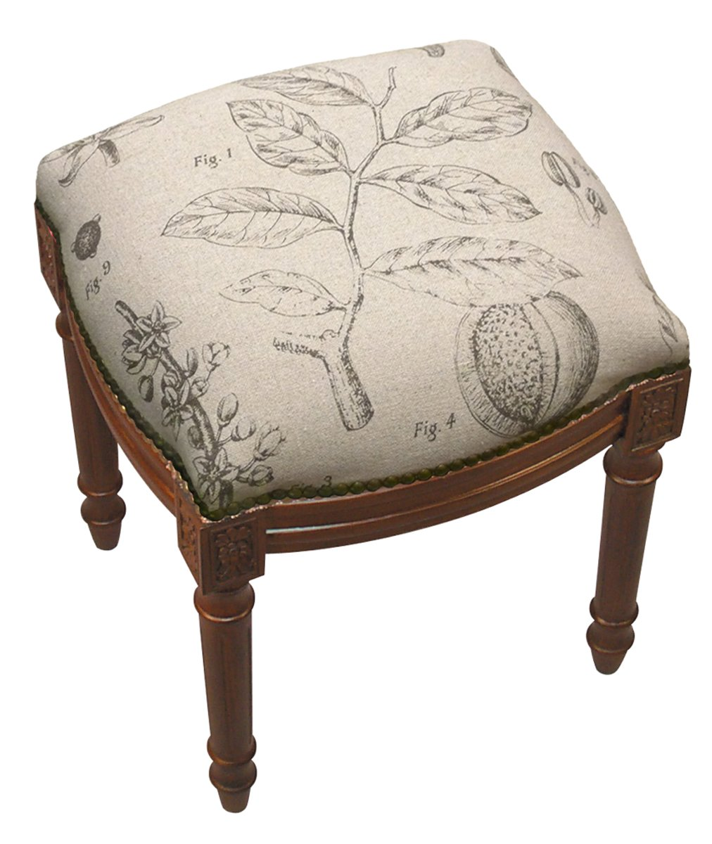 SketchONE Linen Upholstered Vanity Stool, Plant Study