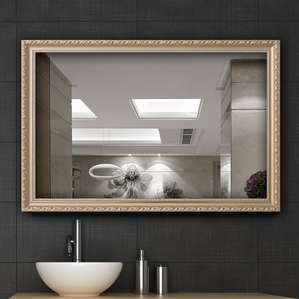 Hans&Alice Clean Large Modern Rectangle Gold Framed Wall Mounted Mirror, Vanity, Bedroom, or Bathroom | Mirrored Rectangle Hangs Horizontal or Vertical, 32''x24''. (Gold(S))