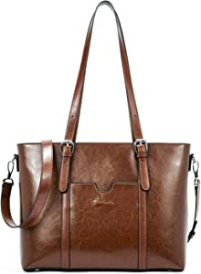 BOSTANTEN Women Leather Laptop Tote Office Shoulder Handbag Vintage Briefcase 15.6 inch Computer Work Purse Dark Brown