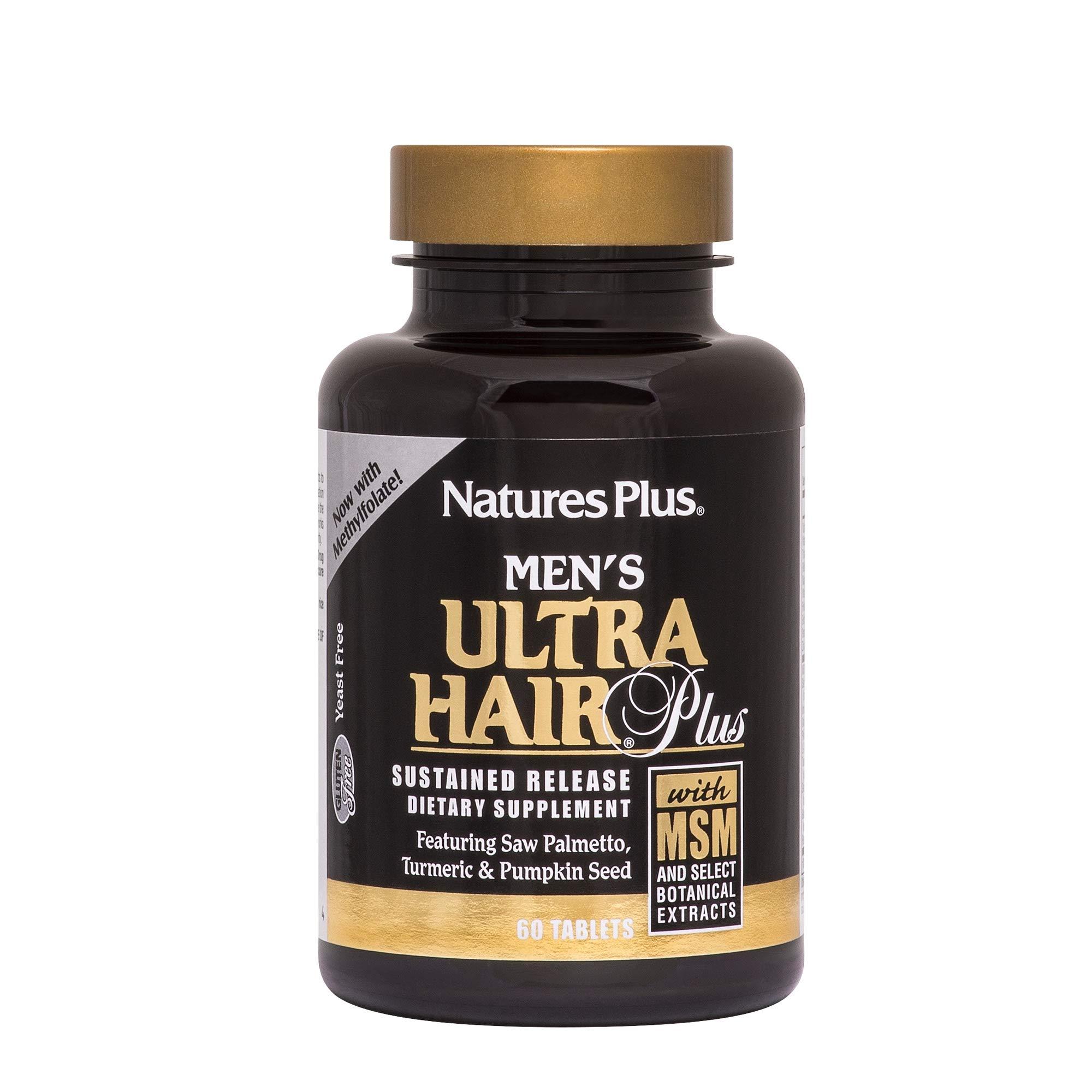 NaturesPlus Men's Ultra Hair Plus, Sustained Release - 60 Tablets - All-Natural Hair Growth Supplement for Men - Promotes Fuller, Healthier Hair - Gluten-Free - 30 Servings