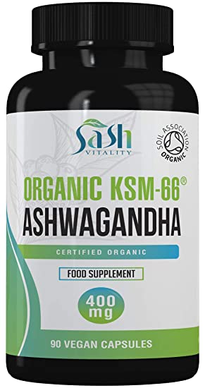 Organic Ashwagandha Vegan High Strength Capsules 400mg | ashwanghanda  KSM-66 Certified Organic by Soil Association | Ayurvedic Withania Somnifera