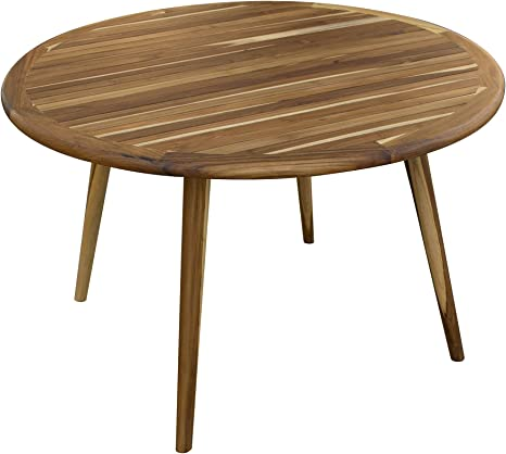 Amazon Com Ecodecors 48in Mid Century Modern Round Teak Indoor Outdoor Dining Table Kitchen Dining