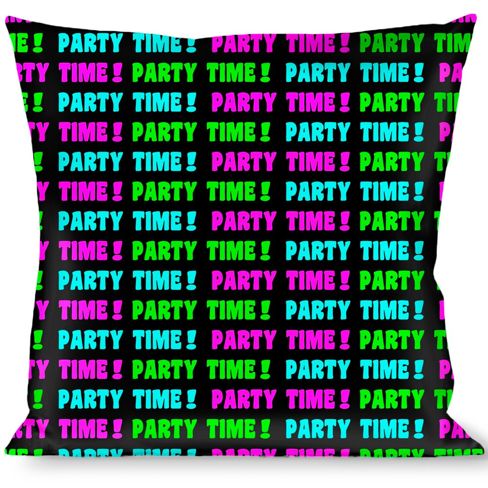Buckle Down Party TIME Black/Green/Turquoise/Fuchsia Throw Pillow, Multicolor