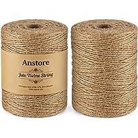 Anstore 400 M natuurlijk jute touw, 1312 voet 2 rollen jute string kunst en ambachten touw voor geschenkverpakking…