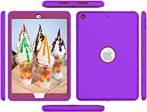 6th 5th Generation Ipad Case Cover 9.7 inch, ipad Air 1st Generation Case, High-Impact Shock Absorbent Silicone Hard Plastic Dual Layer Protective Case Purple/Pink