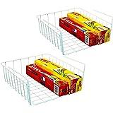 DecoBros 2PK Under Shelf Basket Wrap Rack, White