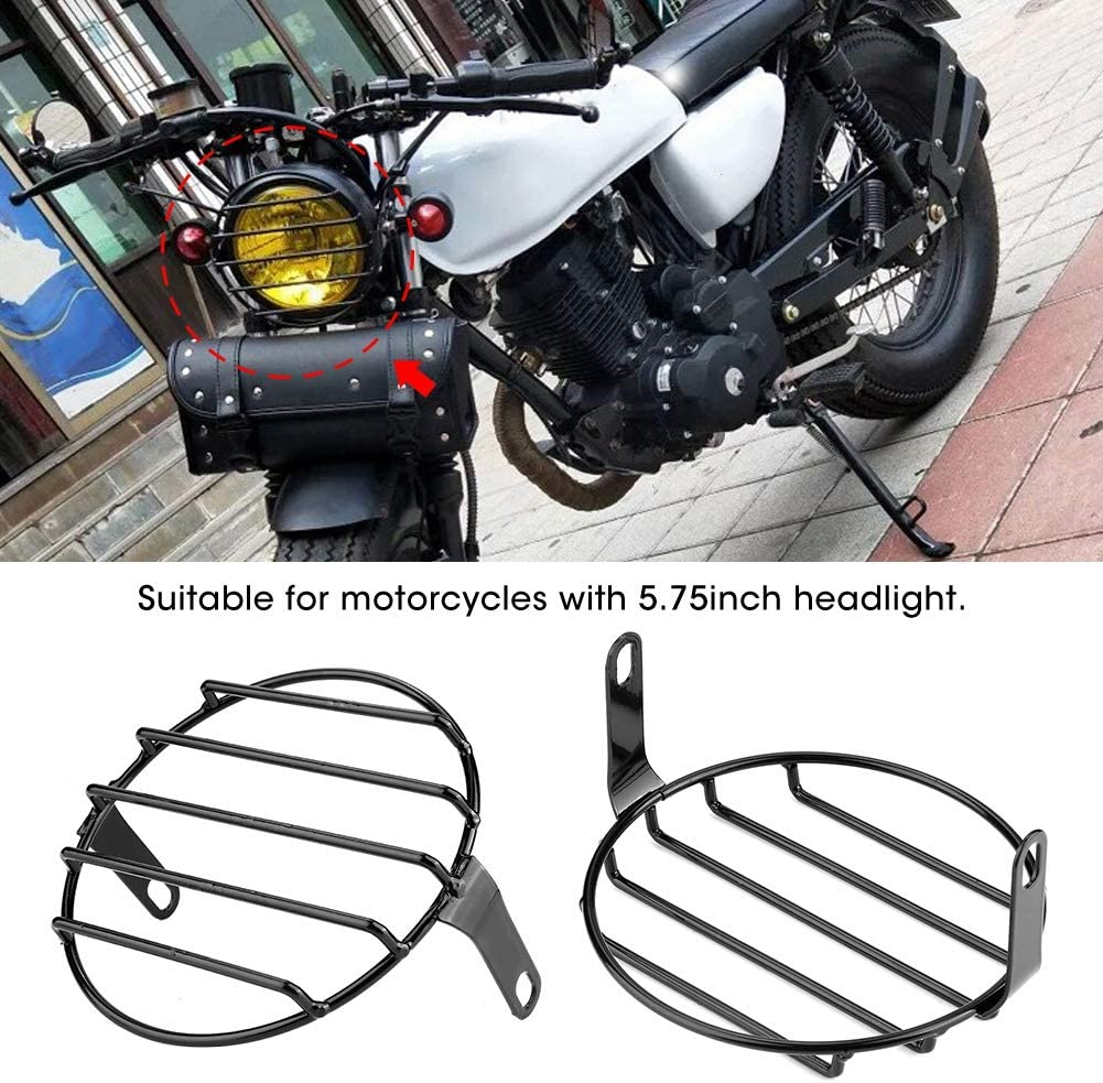 Black Retro Motorcycle Headlight Grill Round Cover Mask 5.75inch Headlight Grill