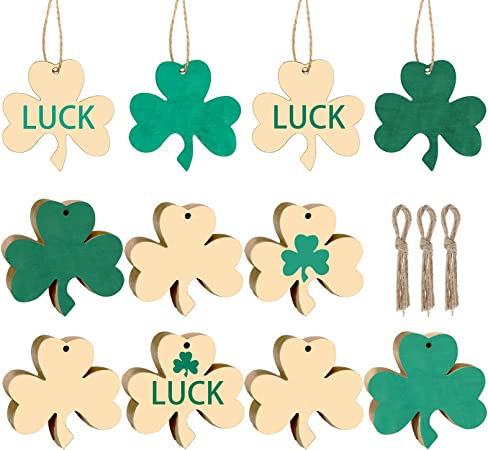 Amazon Com Diy Shamrock Wooden Ornaments Unfinished Wood Shamrock Ornaments St Patrick S Day Hanging Embellishments With Ropes For St Patrick S Party Decorations 60