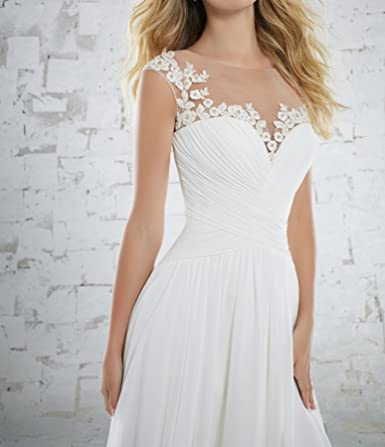 Vweil Cap Sleeve Vestidos De Novia Illusion Neck Chiffon Bridal Wedding Dress at Amazon Womens Clothing store: