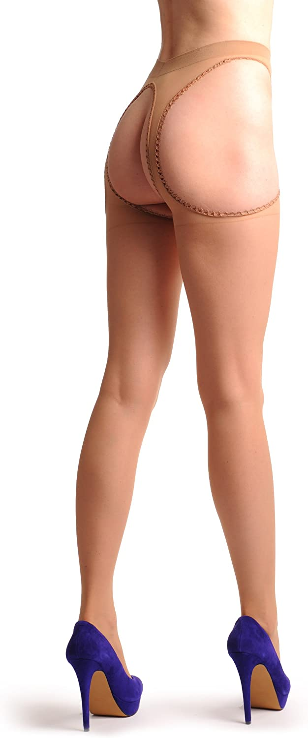 Nude Stockings With Lace Trimmed Attached Suspender Belt T000577