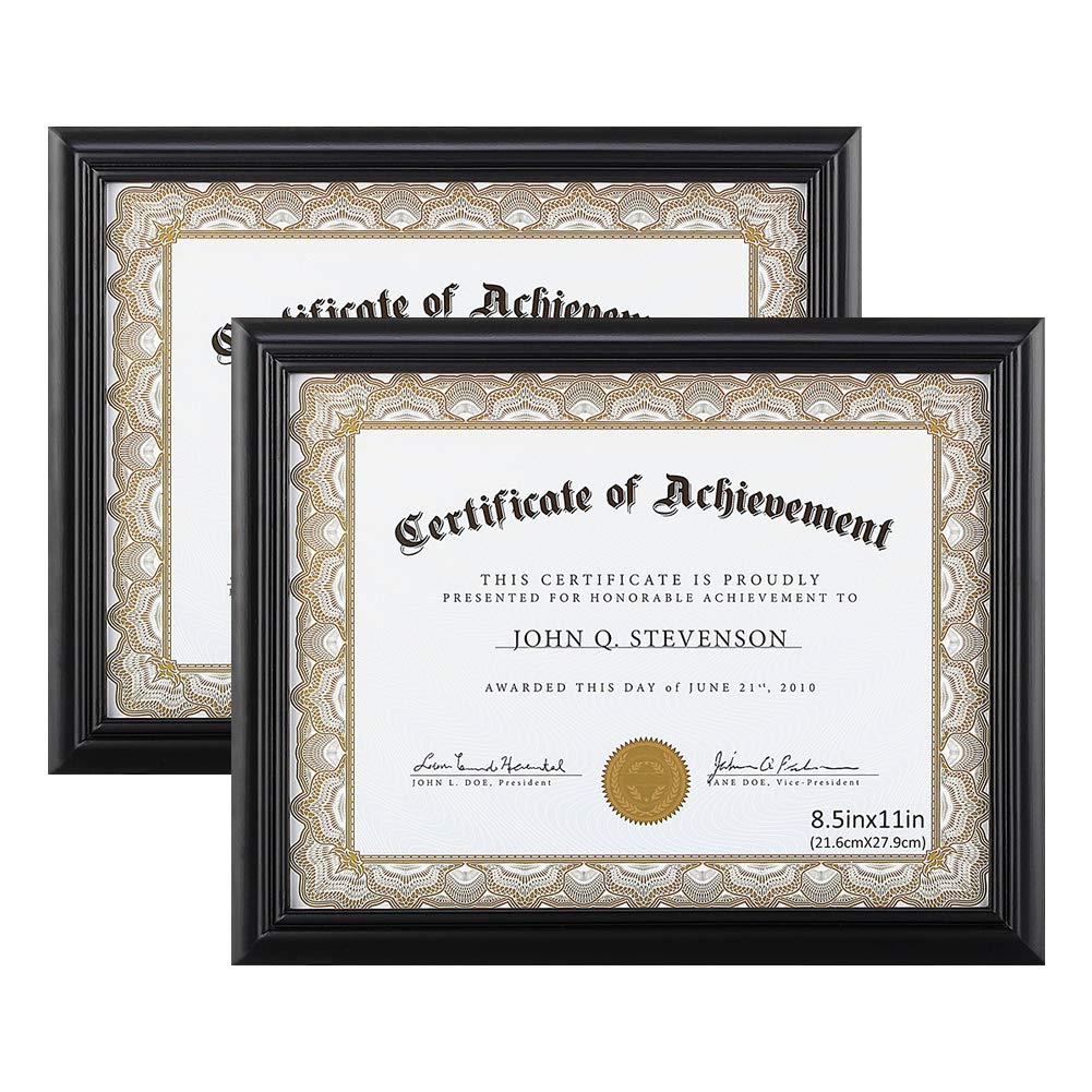 RPJC Document Frame Certificate Frames (2PK) Made of Solid Wood High Definition Glass and Display Certificates 8.5x11 Inch Standard Paper Frame Black