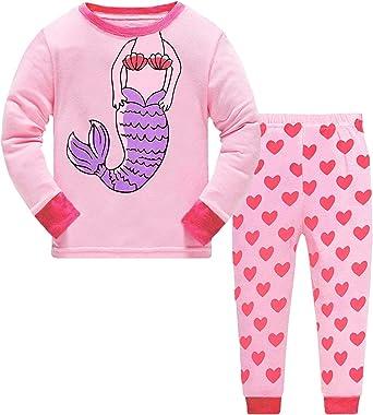 DHASIUE Pijama para niñas con Estampado de Unicornio para Dormir de Manga Larga PJs 100% algodón para niños Playeras y Pantalones de 1 a 7 años