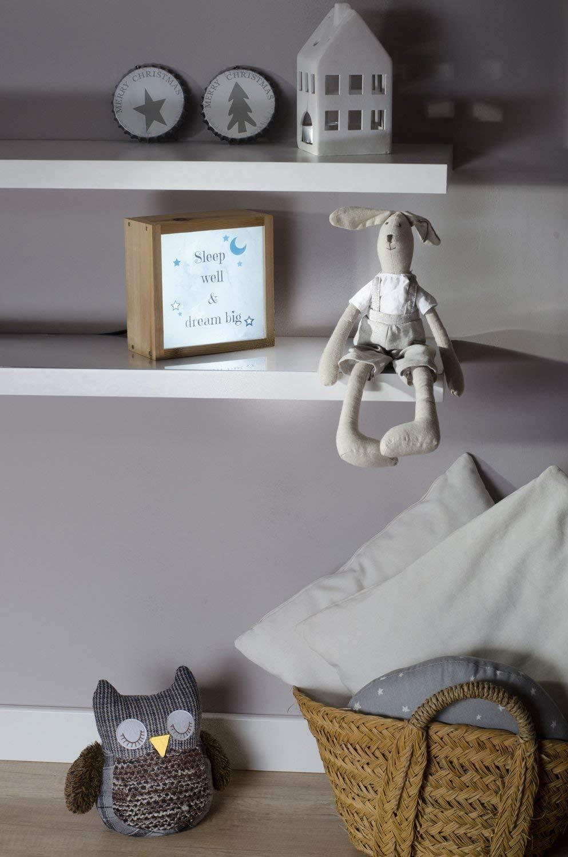 Caja de luz infantil y luz quitamiedos– Regalo personalizado con el nombre -Dulces sueños – Formato 28x21x9,5cm.