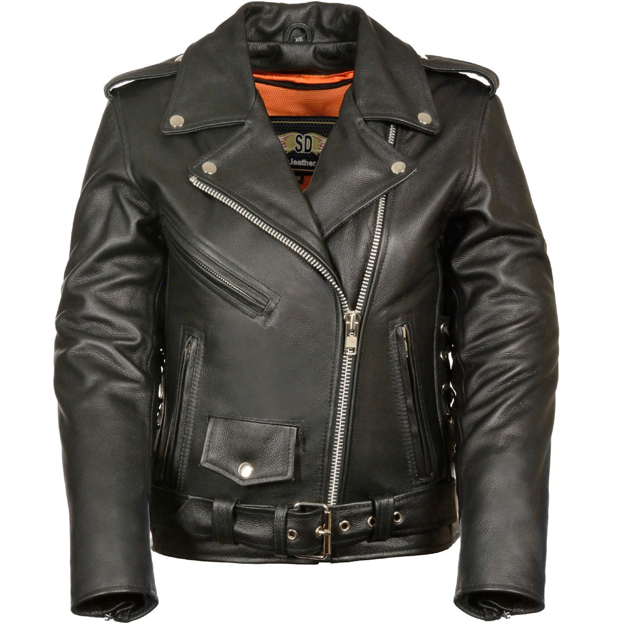 LC2701 Ladies Black Basic Classic Motorcycle Premium Leather Jacket with plain sides,4X