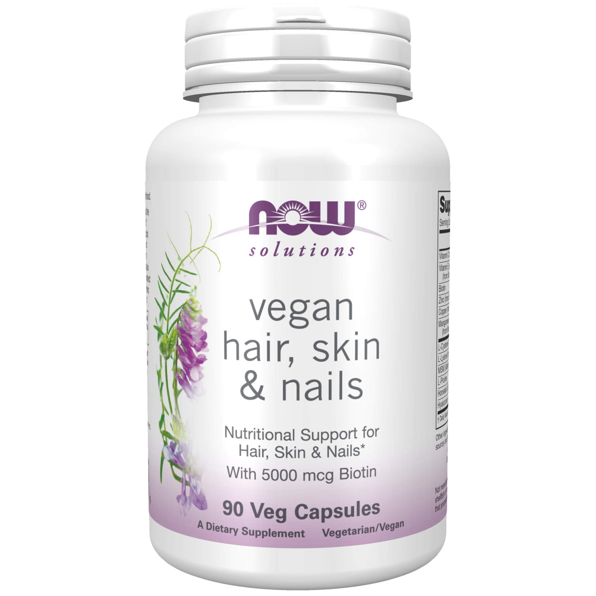 NOW Solutions, Vegan Hair, Skin & Nails, Nutritional Support with 5,000 mcg Biotin, 90 Veg Capsules