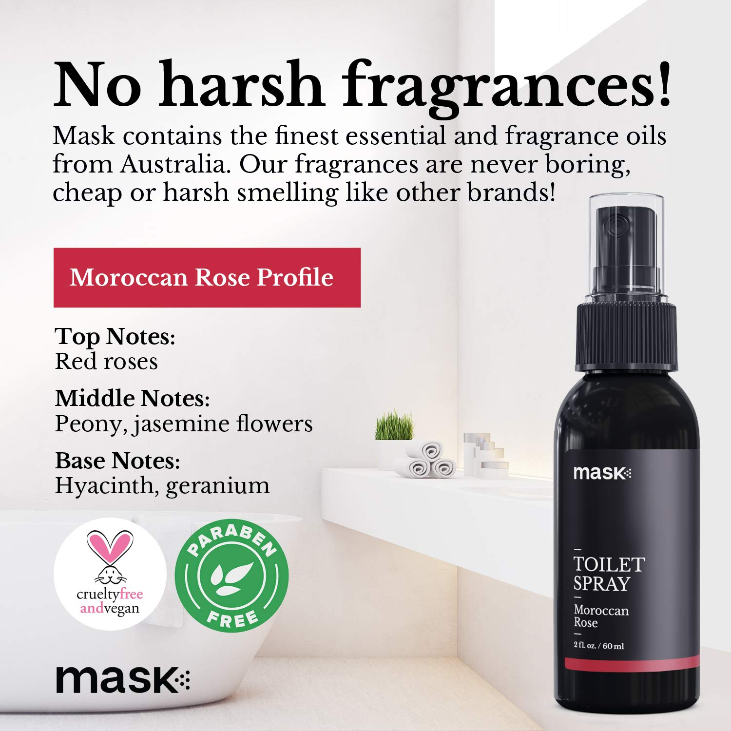 Mask Toilet Spray, Moroccan Rose, 2-Ounce (6-Pack), Deodorizer Bathroom Spray by Mask (Image #4)