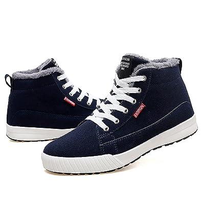 Gracosy Chaussures Hiver Fourrées Hommes Femmes Enfants, Bottines de Neige  Plates Montantes Baskets Sneakers avec 0381362a7b34