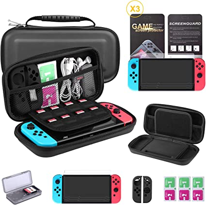 Bestico Kit Protección para Nintendo Switch, Funda Switch Accesorios de Protección incluyen Funda Nintendo Switch,Estuche tarjeta de juego,3 Clear HD Protector de Pantalla,Joy-Con Estucha Silicona: Amazon.es: Electrónica
