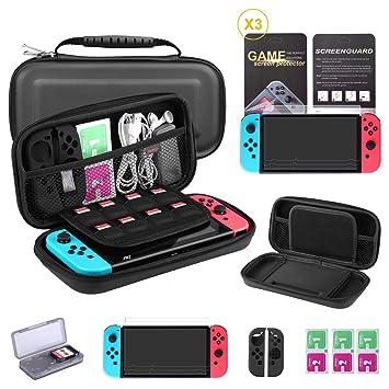 Bestico Kit Protección para Nintendo Switch, Funda Switch Accesorios de Protección incluyen Funda Nintendo Switch,Estuche tarjeta de juego,3 Clear HD ...