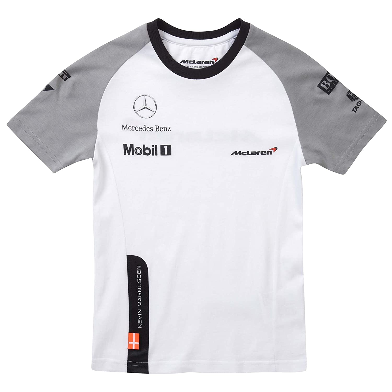McLaren Mercedes niños 2014 Blanco Magnussen Cuello Redondo T ...