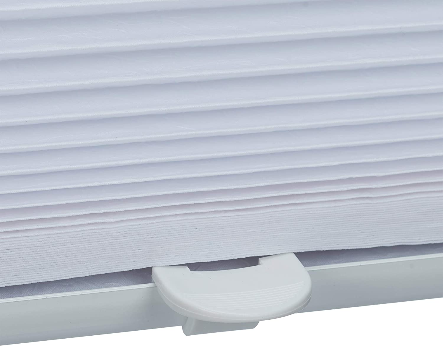 Relaxdays Pleated Blinds Adhesive Klemmfix Shades Folding Roller No-Drilling White 60 x 130 cm Transparent