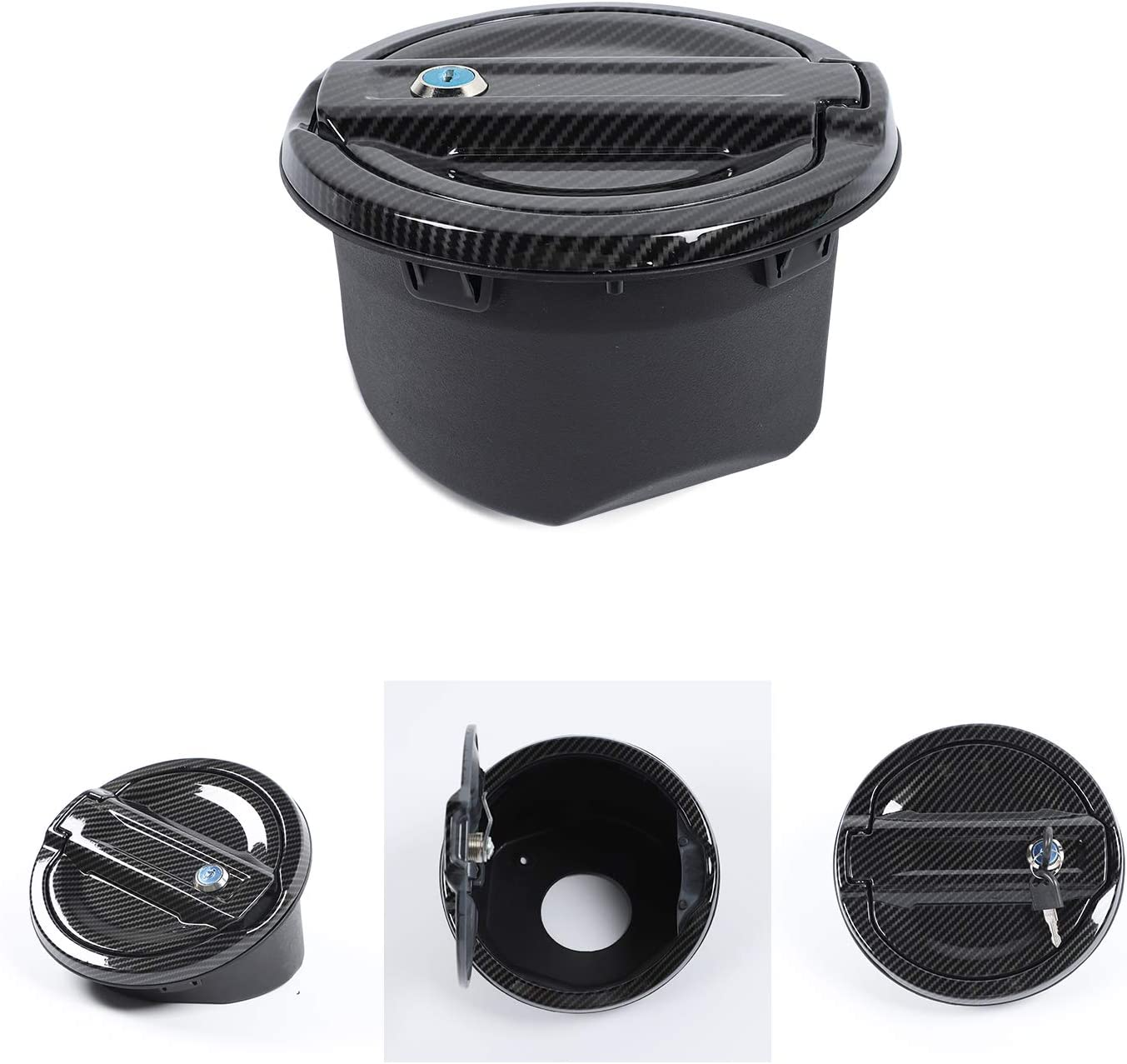 Carbon Fiber RT-TCZ Fuel Filler Door Locking Gas Tank Cap Cover Accessories for 2018 2019 2020 Jeep Wrangler JL JLU