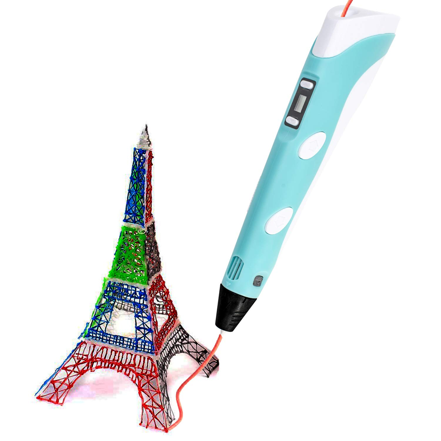 DREAMT Blue 3D Drawing Printer Pen for Arts Crafts Model DIY Compatible with PLA ABS Filament 3D Printing Pen with 3 Colors PLA Filament Refills 3D Pen for Kids