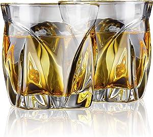 AEGIS Crystal Whiskey Glasses Set of 2 – Fire-Polished, Titanium-Infused Whiskey Gift Set – European-Crafted, Lead-Free Rocks Glasses – Dishwasher-Safe Double Old-Fashioned Glass Tumbler Set