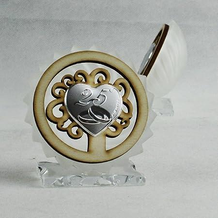 Xxv Anniversario Di Matrimonio.Dlm26639 Icona In Vetro E Legno Con Albero Della Vita Per 25