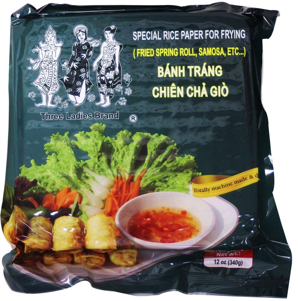 可油炸越南春卷皮 Spring Roll Rice Paper Wrapper -Special rice Paper for frying Square 16cm (3 Packs)