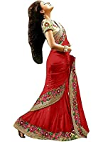 Mira Fashion Women's Georgette Saree With Blouse Piece (Mf-522_Red)