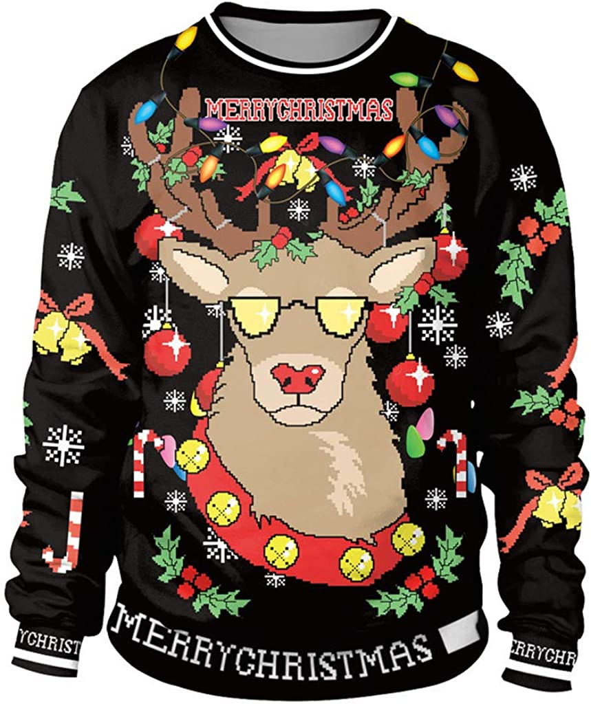 CCOOfhhc Men/&Women Ugly Christmas Sweater Warm Winter Crew Ncek Casual Pullovers Unisex Funny Graphics Sweatshirt