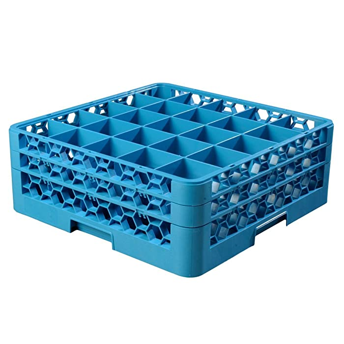 Carlisle RG25-214 OptiClean 25 Compartment Glass Rack with 2 Extenders, Blue