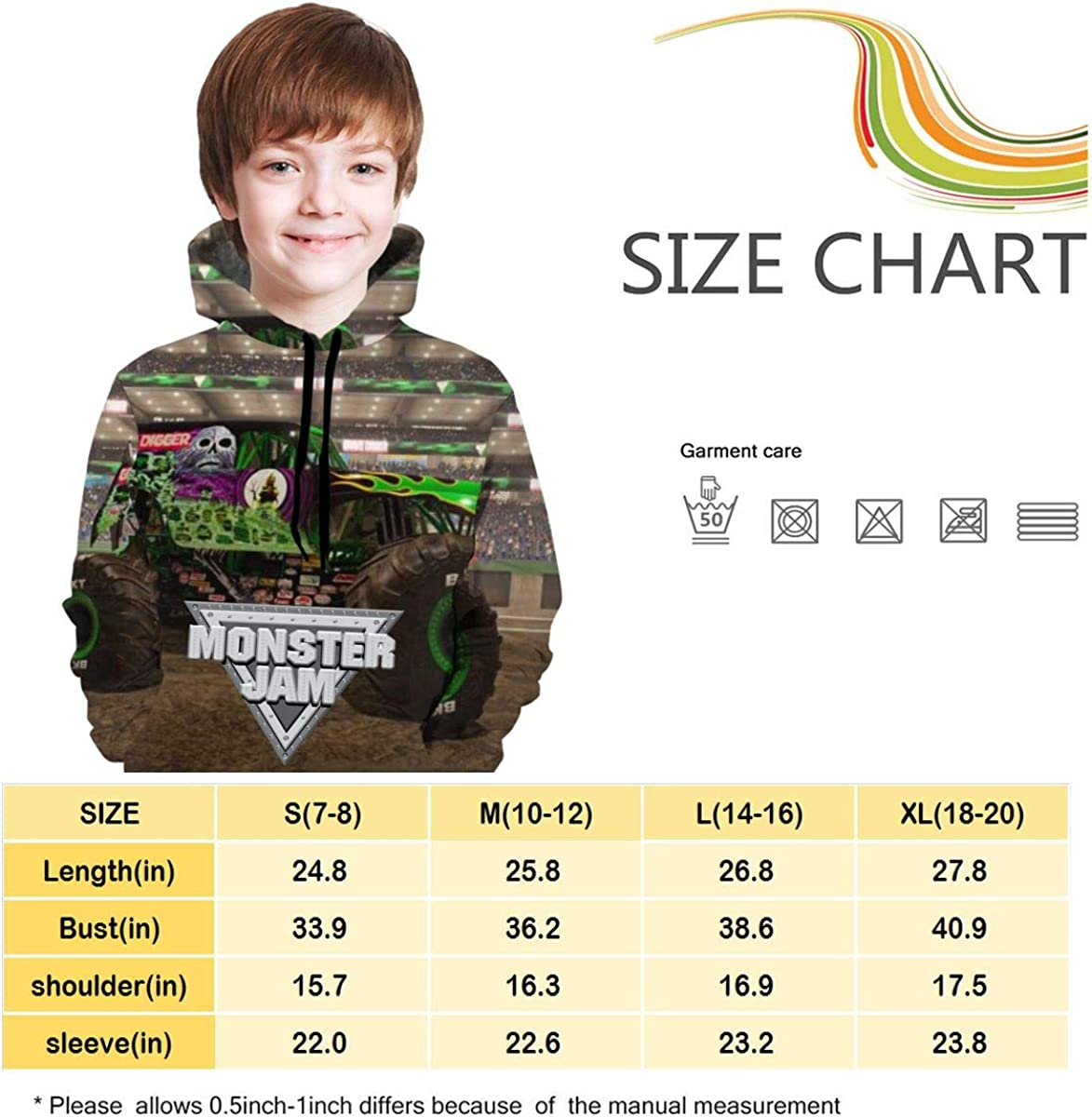 Pullover Kids Trucks/_Grave Sweatshirts Hoodies for Girls Boys Soft Hooded Sweate Tops with Pockets