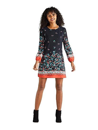 b68eae1cf05 YUMI Ditsy Border Tunic Dress  Amazon.co.uk  Clothing