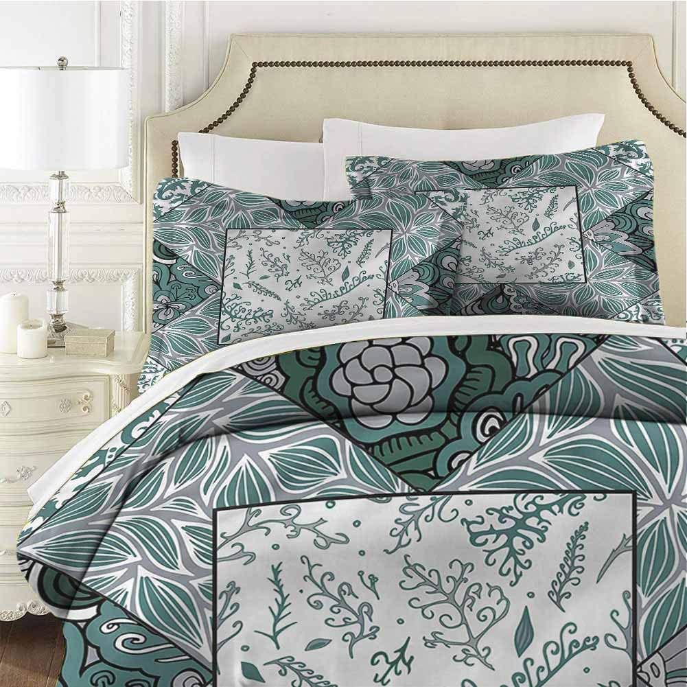 Boho Queen Size Sheet Set-3 Piece Set,Comforter Set Bed Comforter Bedding Set Leaves Chevron Flower Mix Easy Care Bedding Cover Soft Breathable