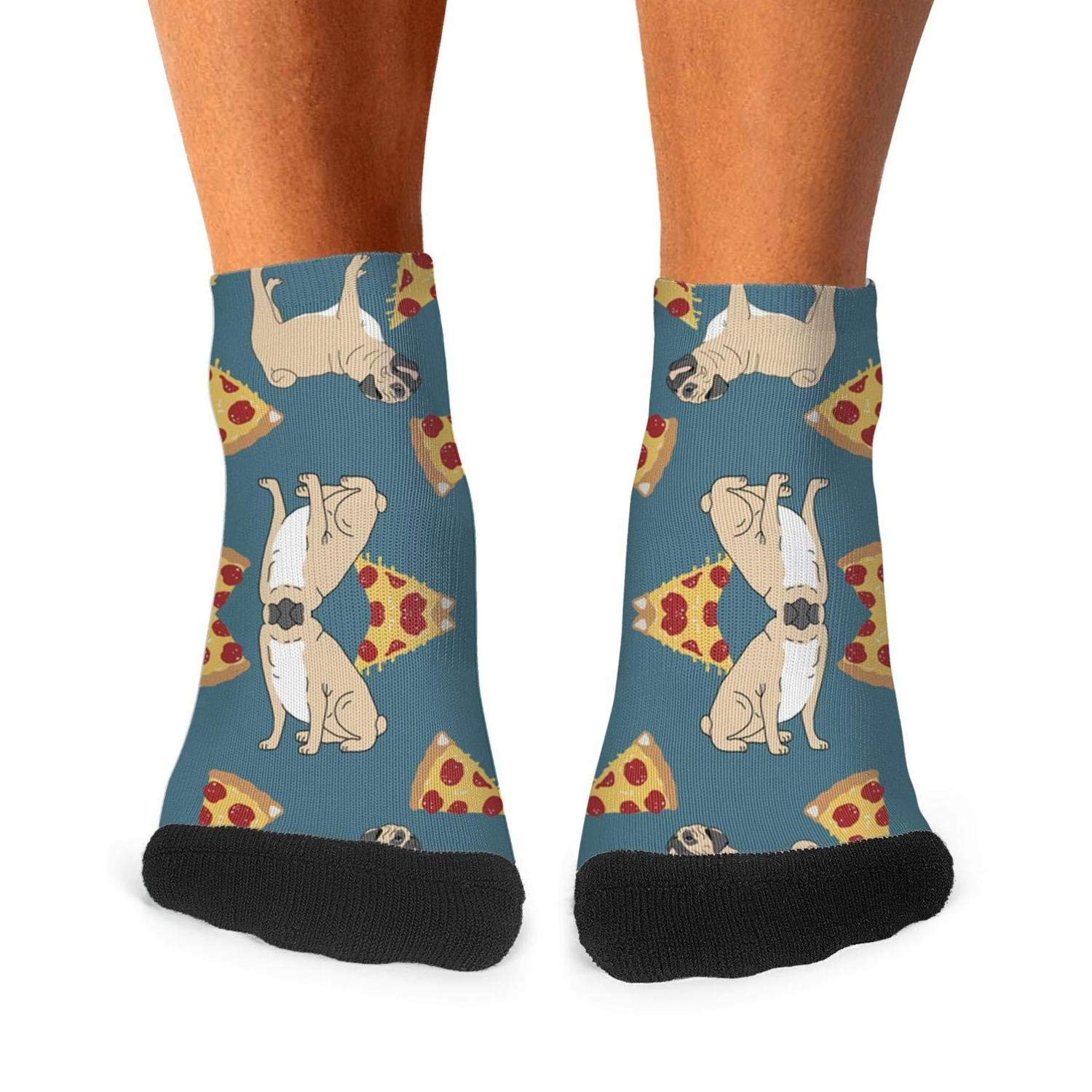 Mens athletic low cut Ankle sock pug dog pizza Short Casual Sock