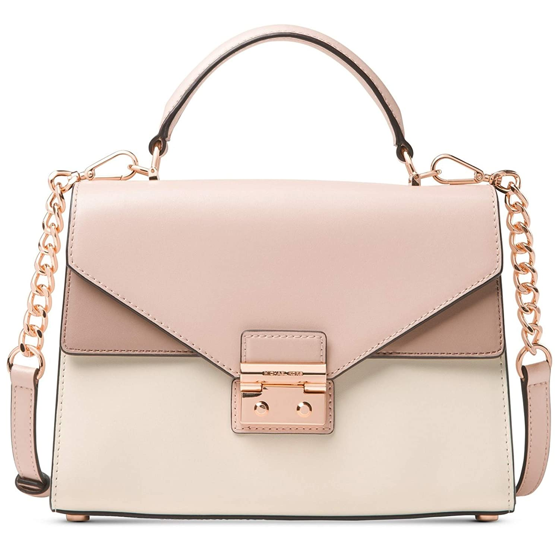 3be0ea6ca Amazon.com: MICHAEL Michael Kors Sloan Medium Top Handle Leather Shoulder  Bag, Soft Pink Cream Fawn RoseGold: Shoes