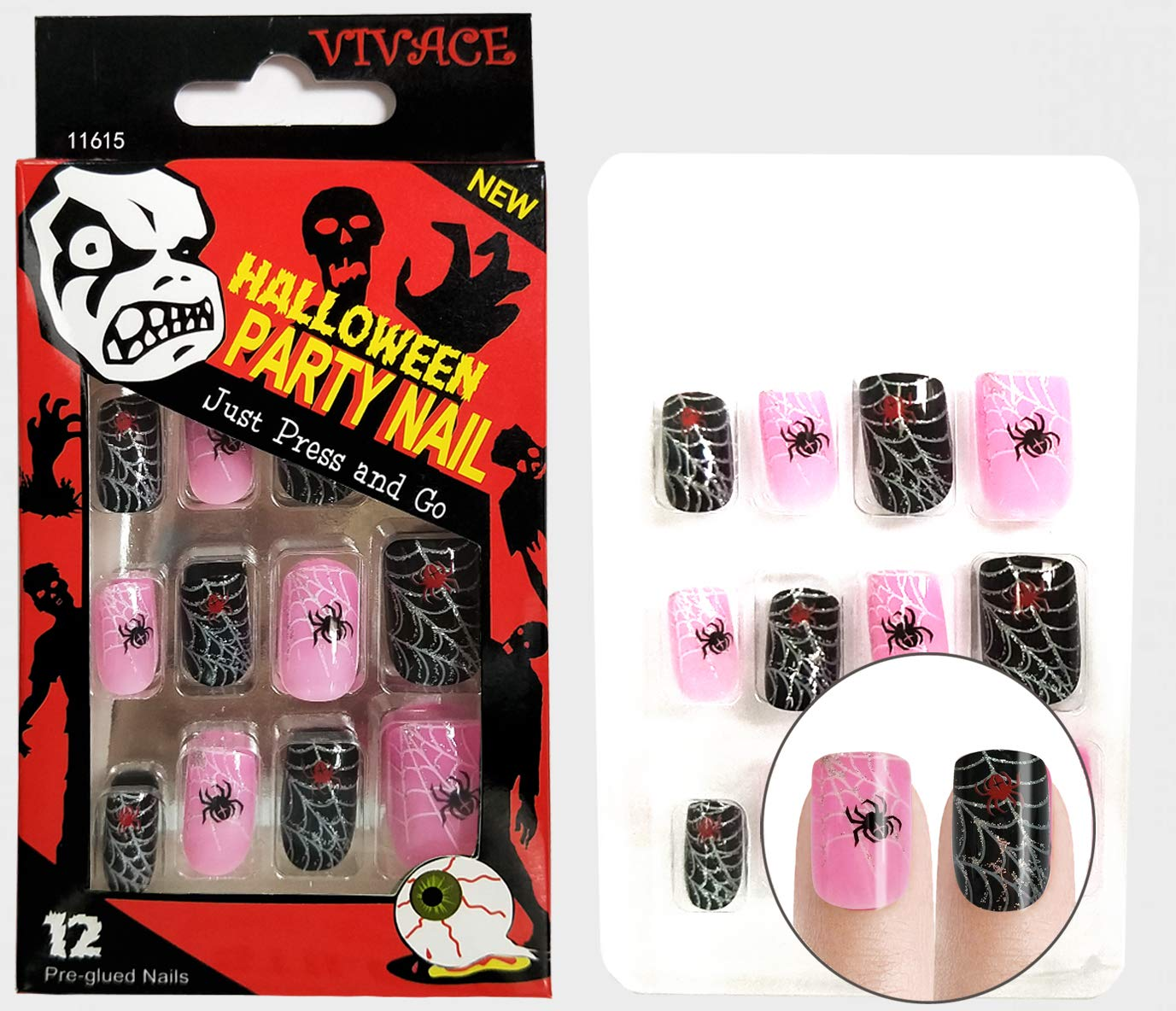 Amazon.com: Vivace Press On 12 Tips Holloween Novelty Nails ...