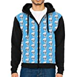 HenSLK Men's Ostrich Casual Pockets Sweatshirt Full Zip Hoodie Crew Hooded Shirts Athletic Sportwear