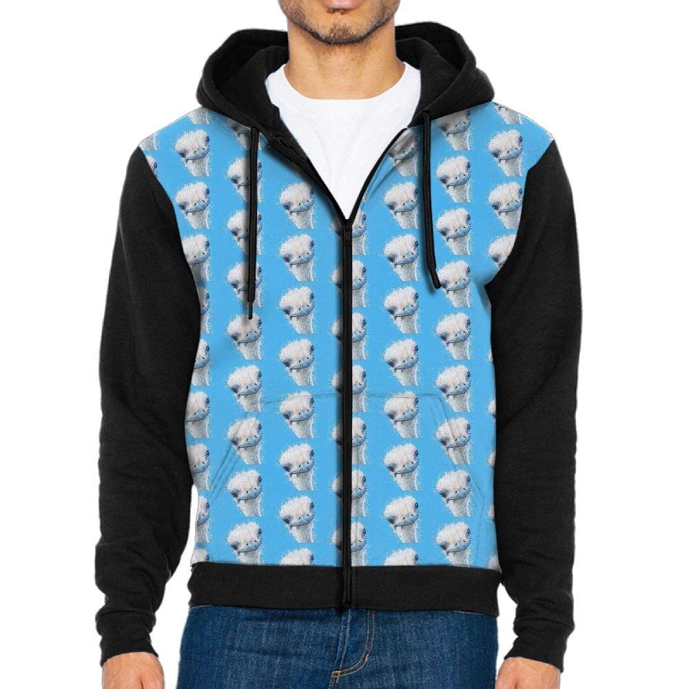 HenSLK Men's Ostrich Casual Pockets Sweatshirt Full Zip Hoodie Crew Hooded Shirts Athletic Sportwear
