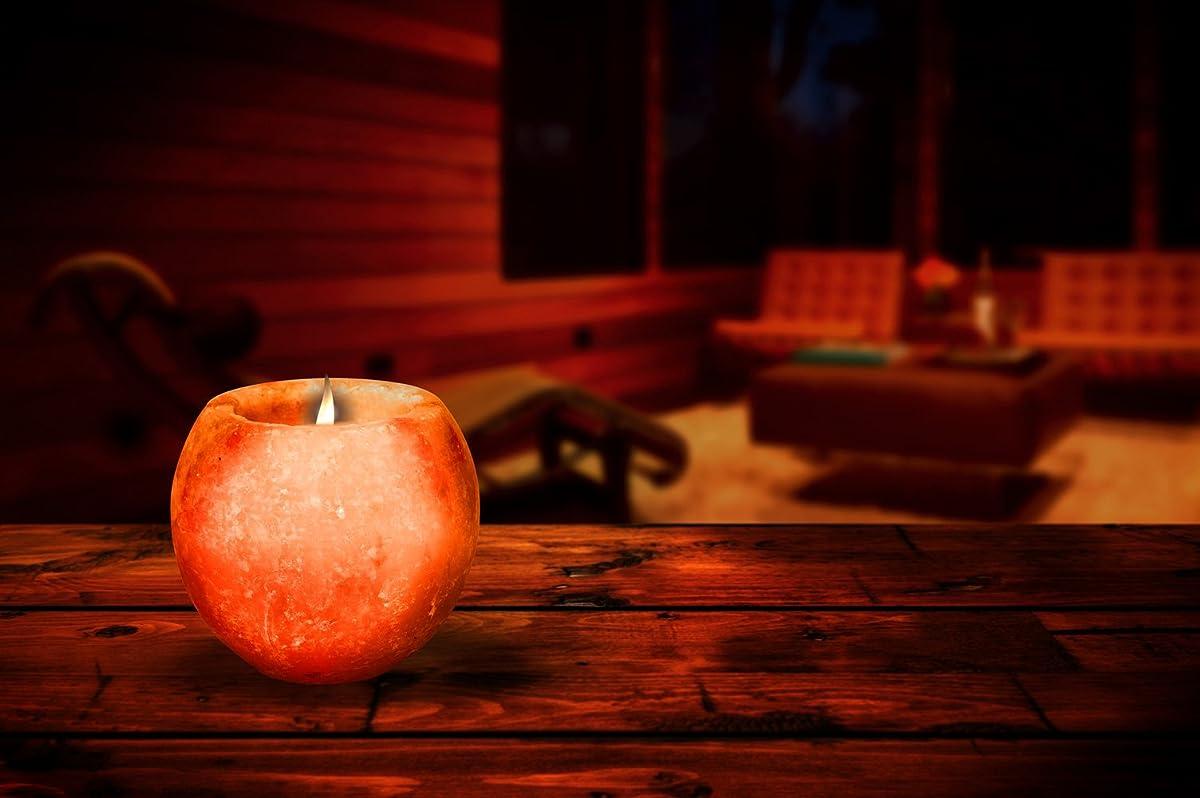 HemingWeigh Natural Himalayan Salt Candle Holder - Hand Carved Rock Tea Light Pink – 3 Pack
