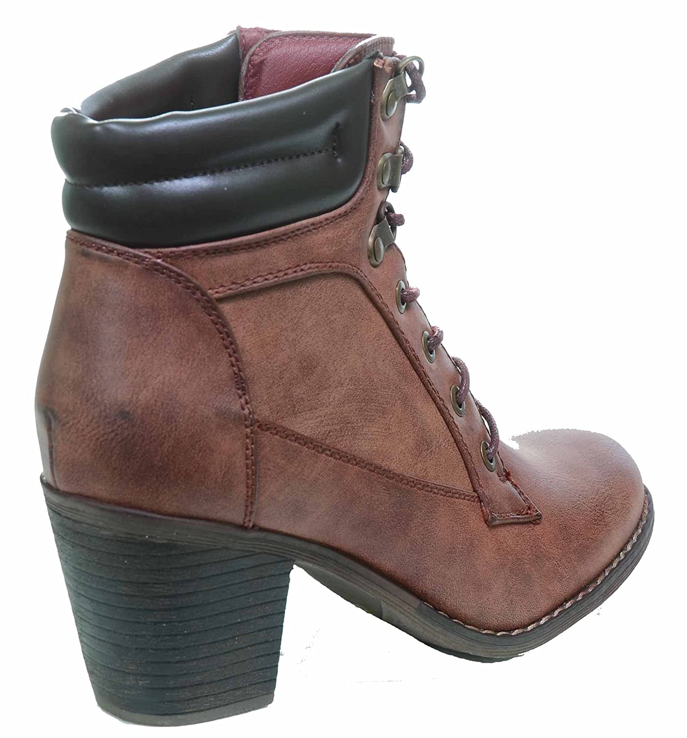 Lace-up Vegan Leather Ankle Stacked Chunky Heel Vegan Bootie