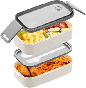 Bento Box For Adults Kids - 1600ML All-in-One Stackable Premium Japanese Bento Lunch Box Container With Utensil, Durable Leak-proof Eco-Friendly, Micro-Waves & Dishwasher & Freezer Safe (White)
