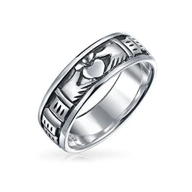 f7d5b4096cf06 BFF Celtic Irish Friendship Couples Promise Claddagh Wedding Band Ring For  Men For Women Oxidized 925 Sterling Silver